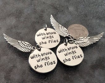 """6 - 2 piece sets """"With brave wings she flies"""" inspiration pendant, Confidence necklace, bravery jewelry, wing charm, stamped pendant"""