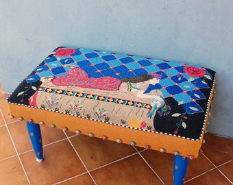 Sultan Ottoman, Vintage Embroidery Pouf Bench Bohemian Wooden Furniture Vintage Hand embroidery, Global Textile Wooden Floral Legs