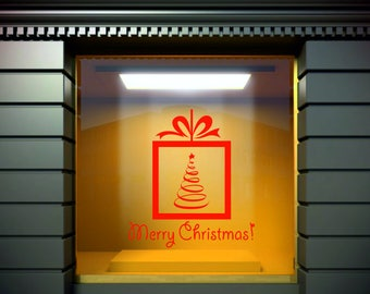 Xmas Santa Shop Store Window Merry Christmas Decor Vinyl Wall Sticker Decal .