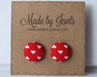 Crimson Red and White Little Hearts Handmade Fabric Covered Hypoallergenic Button Post Stud Earrings 10mm