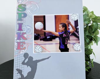 Spike Volleyball - Sports Game Coach Teen Team Mom Dad Magnetic Picture Frame Handmade Gift Present Home Decor Size 9 x 11 Holds 5 x 7 Photo