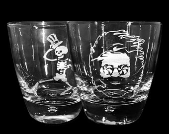 Grateful Dead Etched Whiskey Rocks Glasses Set of Two