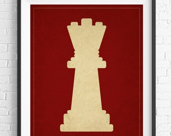 Chess Art, Queen Chess Piece Print, Board Game Art, Game Room Wall Art, Game Room Art, Game Room Decor, Nerd Gift, Geek Gift, Gifts for Dad