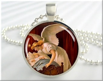 Guardian Angel Necklace, Resin Charm, Angel and Child Art Pendant, Gift Under 20, Spiritual Gift, Round Silver, Angel Art 569RS