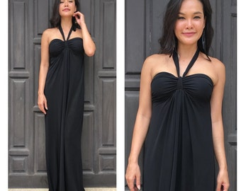 Black Halter  Beach evening long maxi Sun dress All size