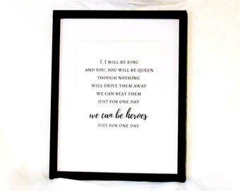 David Bowie Lyrics Heroes Printable Wall Art We Can Be Heroes Just For One Day Instant Download