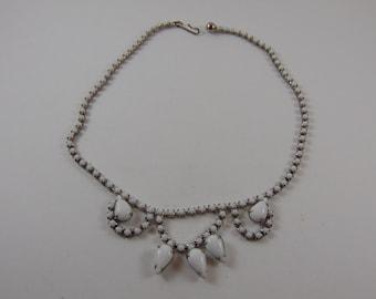 Vintage Milk White Rhinestone Choker Necklace