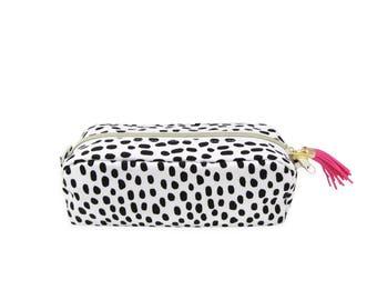 Love+Lemon Pencil Pouch Bag, Tassel Zipper Pull, Best Selling Black Polka Dot Pattern