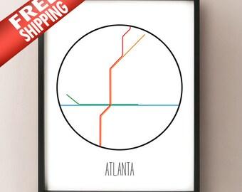 Atlanta, Georgia - Minimalist Metro Subway Art Print - MARTA