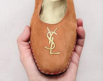 Yves Saint Laurent shoes / Vintage YSL Monogram Logo suede leather platform / wedge heel embroidered sandals Espadrille Eu 41 Uk 8 Us 10