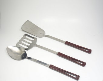 Vintage Stanhome 3 Piece Spatula & Serving Spoon Set Stanhome Slotted Spatula Turner Lifter Flipper Solid Head Spatula