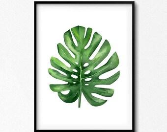 Tropical Leaf, Monstera leaf, Watercolor Leaf, Botanical Illustration, Plants Art, Leaf Print, Green Wall Art, Watercolor Plants, Summer Art
