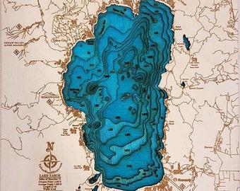 Mini Lake Tahoe 3-D Wooden Map