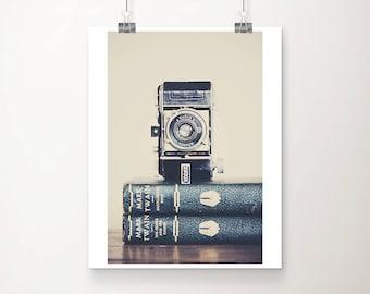 vintage camera photograph book photograph still life photograph mark twain print retro camera print kodak camera print