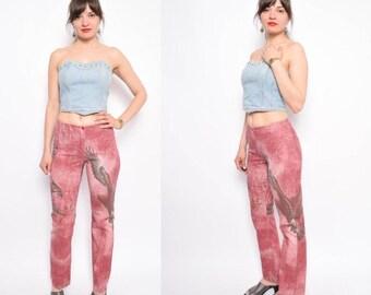 Vintage 90's Eagle Print Pants / Burgundy Printed Pants / Bird Print Pants  - Size Small
