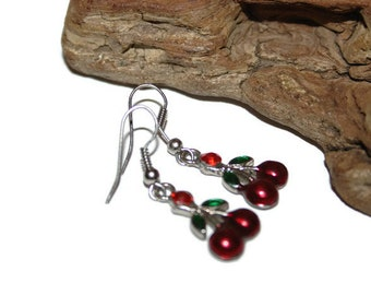 Vintage Cherry Earrings, Vintage Cherry Jewelry, Rockabilly Jewelry, Rockabilly Earrings, Fruit Jewelry, Fruit Earrings, Enamel Earrings