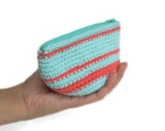 Crochet Pouch with Zipper and Lining, Small Cosmetics Pouch, Zip Pouch, Zipper Pouch, Lined Pouch, Cotton Pouch, Bags Purses, Knit Pouch