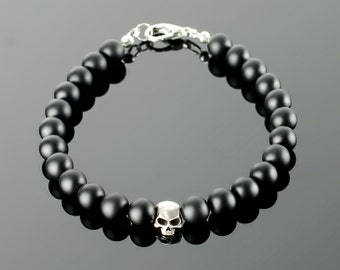 Black onyx jewelry - Onyx jewelry with black gemstones: onyx, lava, silver plated skull beads and 20 colors to choose!