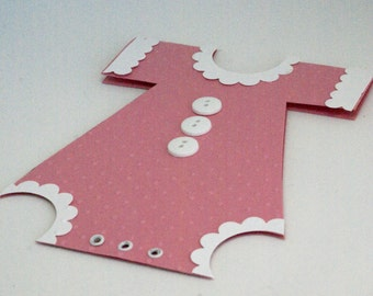 Pink Baby Girl Card, Handmade New Baby Onesie Card, Birth Gift Card Holder, New Baby Card, Cute Baby Gift Card,Sweet  Infant Money Enclosure