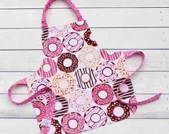 Toddler Apron | Child Apron | Kids Apron | Art Smock | Art Apron | Donut Apron | Reversible Apron | CPSC Compliant | Kids Birthday Gift