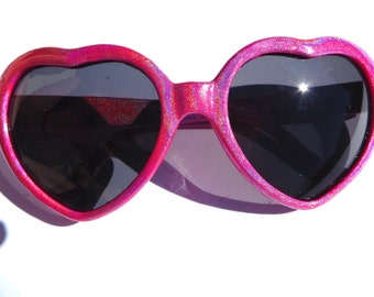 Bright Pink Holographic Glitter Sparkly Heart Shaped Sunglasses
