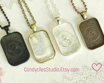 10pc..DIY Pendant Tray Necklace Kit...Size 20x30mm...pendant trays, includes chains, glass Inserts,  trays..Mix and Match color trays.