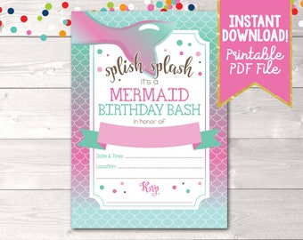 Printable Mermaid Birthday Party Invitation, Instant Download Girls Mermaid Birthday Bash Invitation, Printable PDF in Pink & Blue