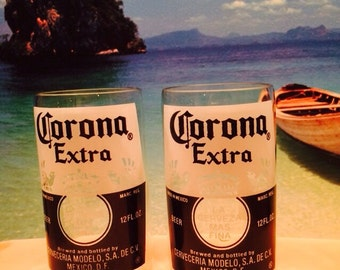 Corona Glasses/Recycled Beer Bottle Glasses/Corona Extra/Upcycled/Repurposed/Handcrafted Tumblers/set of 2/
