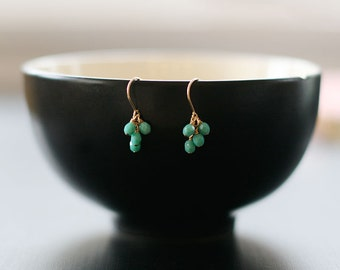 """turquoise cluster 14k goldfill earrings - sweet gift for her - """"lucky"""" faceted earrings in turquoise - handmade by elephantine"""