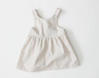 Made to Order Baby Linen/Cotton Pinafore in Natural