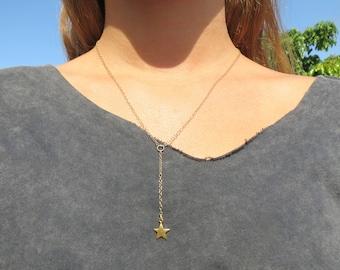 Y Necklace, Simple Necklace, Dainty Lariat Necklace, Star Necklace, Goldfilled lariat Star Necklace, Gold Star Lariat Necklace, Gift For Her