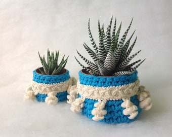 Two basket succulents Two pot planters Basket for cactus Crochet basket for plants Air crochet Pot planters Spring Pot for small plant