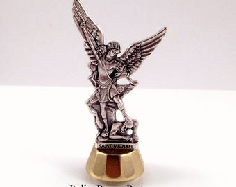 Saint Michael The Archangel Miniature Statue, Magnetic, Adhesive Car Dashboard Statue Made In Italy