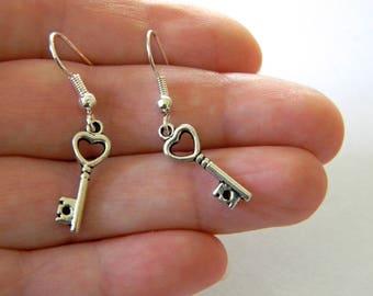 Small Heart Skeleton Key Earrings Silver Color Dangle Earrings