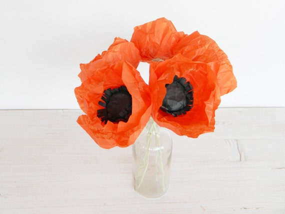 Five pieces of red paper poppies paper flowers poppy flower like this item mightylinksfo