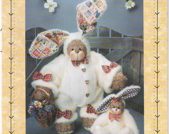 "1997 - Homespun At Heart Designs HS 48 Vintage Sewing Pattern Spring Is Bearly Hare 12"" 6 1/2"" Bears Rabbit Bunny Stuffed Animal Decoration"