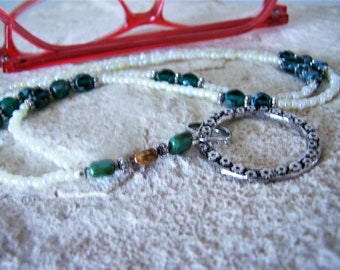 Green and Cream Necklace Lanyard for Glasses, One Of A Kind, Gift for Her