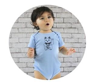 Maneki Neko Baby Onepiece, Lucky Cat Shirt, Organic Cotton Clothes, Organic Baby Clothes, Organic Onepiece, Baby Romper, Baby Shower Gift