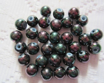22  Ebony Black Luster AB Round Glass Beads  8mm