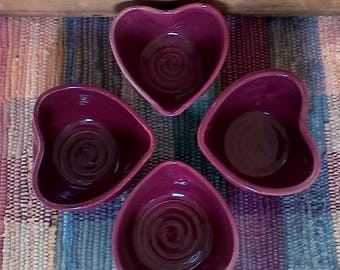 Set of 4 handmade red raspberry ceramic heart bowls - 3.75 inches - trinket dish - pottery snack dish - dresser bowl - valentines - bridal