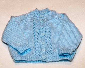 Blue baby round neck cardigan with buttons 0-6 months