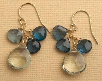 Green Amethyst Earrings, London Blue Topaz Earrings, Gemstone Dangle Earrings, Blue Green Gemstone Earrings