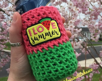 I love summer beer cozy, Watermelon can cozy, green and red bottle cozy, summer can cozy, bbq