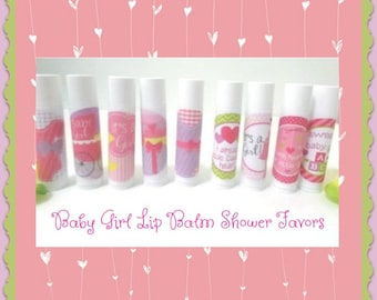 Baby Girl Shower Lip Balm Favor - Baby Girl Shower Favors - Free Personalization - Set of 20