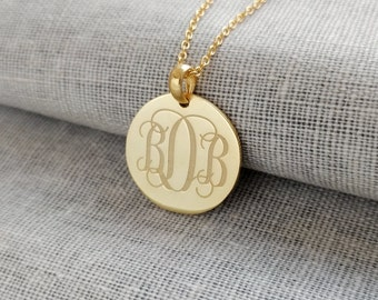 3 Initials Monogram Necklace Gold,Small Initial Monogram Disc Necklace,Engraved Disc Pendant,Initial Disk Necklace,Celebrity Circle Necklace