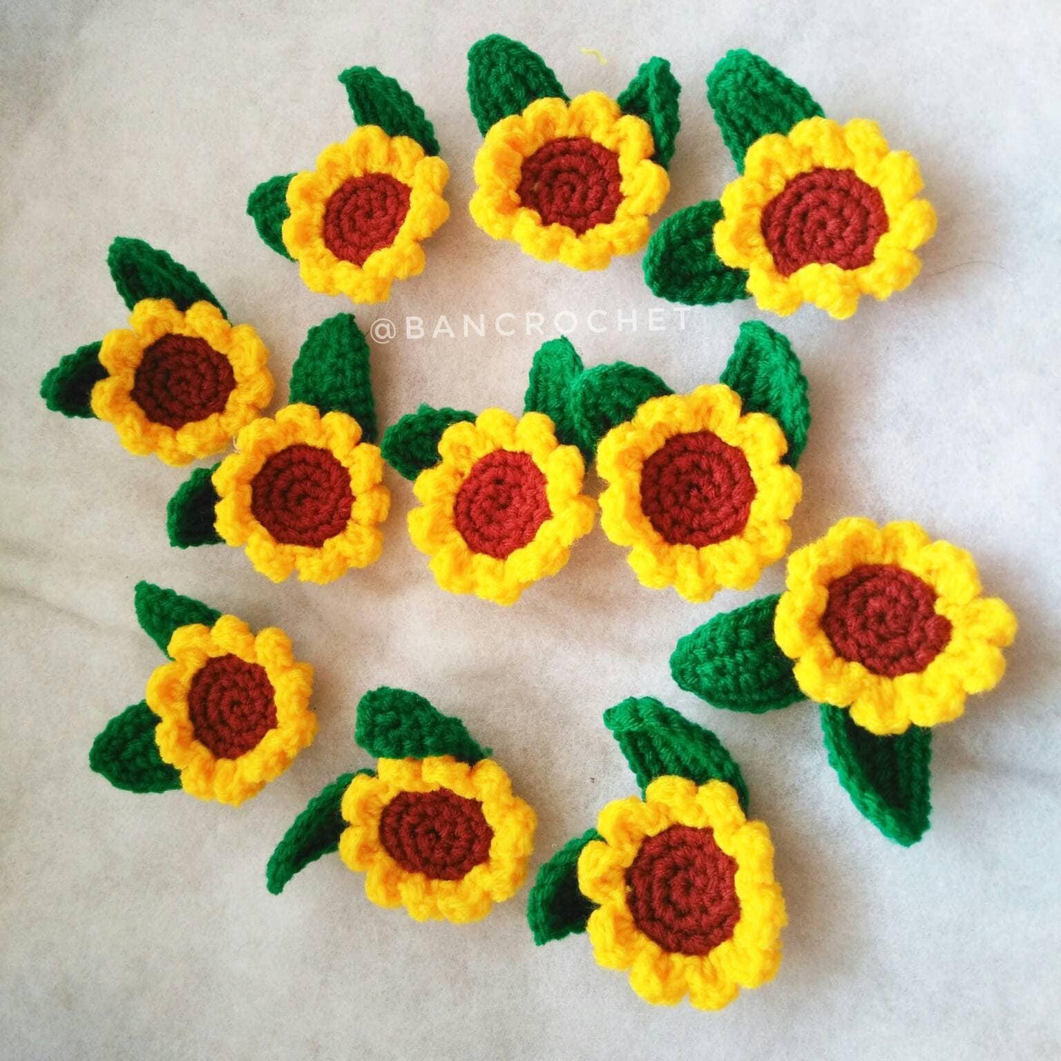 Mini Sonnenblumen: Häkelblumen Sonnenblume Häkelblüten