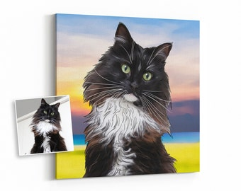 custom cat portrait from photo, cartoon pet portrait painting, cat memorial, cat loss gifts, cat remembrance for cat lover, digital, canvas