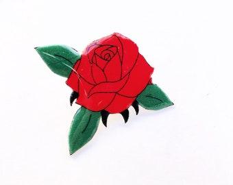 Red Rose Pin | Lapel Pin | Flower Pin | Resin Pin | Plastic Pin | Enamel Pin | Rose Pin | RoseEnamel Pin | Floral Pin |