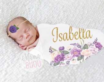 Newborn Girl Personalized Blanket Swaddle Blanket Newborn Girl Receiving Blanket Boho Swaddling Blanket Purple Lavender Floral Baby Gift