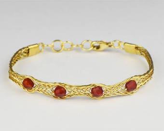 Braided bracelet in gold plated/gilded silver with gemstones Cornelian/Karneol